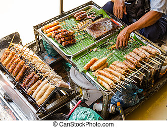 Sausages in Thailand, Thai style food - Grilled Thai ...