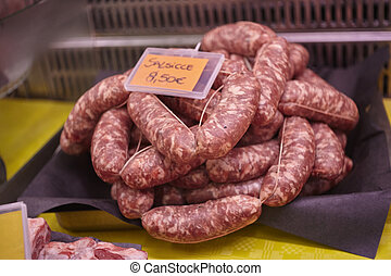Sausages in the butchery counter