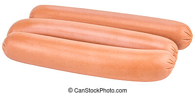 sausages isolated on white background with clipping path