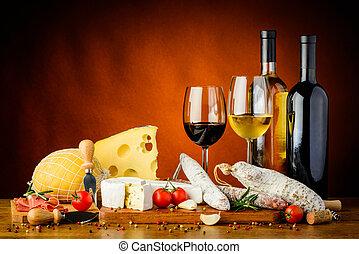 sausages, kaas, wijntje