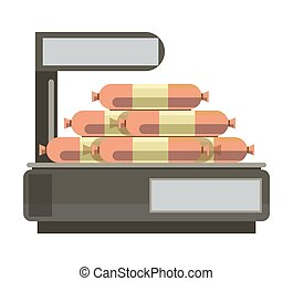 Sausages meat on store counter weigth scales butcher shop...