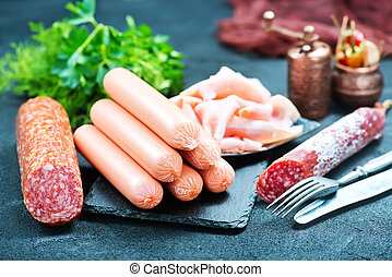 sausages on a table, sausages and salami