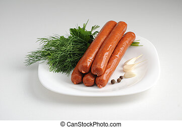 Sausages on a white background