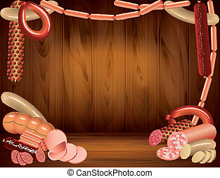 Sausages on dark wooden background in vector - Sausages...
