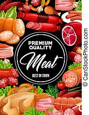 Sausages, pork and beef meat food, seasonings