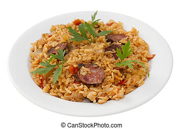 sausages with rice on white plate