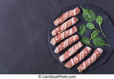 Sausages wrapped in bacon, chevapchichi