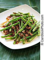 sauté, haricots verts, asiatique, plat