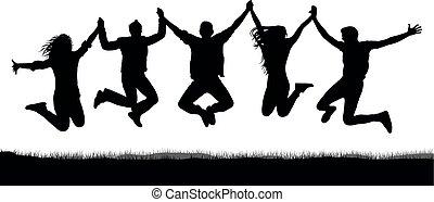 saut, amusement, silhouette, tenue, foule, gens, joie, gai, hands., jeunesse, sauter, adolescent, avoir, game., amusement, heureux, jumping., amis, fête, vector.