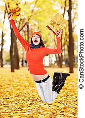 saut, automne, outdoor., feuille, girl
