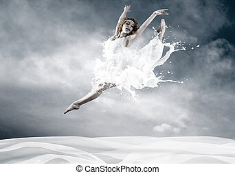 saut, ballerine, robe, lait