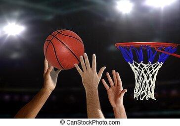 saut, cerceau, basket-ball, coup