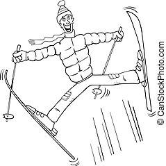 saut, coloration, ski, page, homme