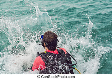 saut, début, plongeurs, mer, plongée