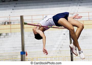 saut en hauteur, action, (blurred)