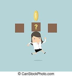 saut, femme affaires, box., succès, monnaie