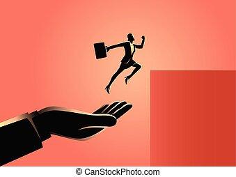 saut, femme affaires, plus haut, main aidant