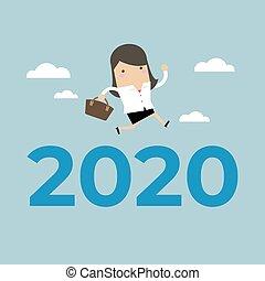saut, femme affaires, sur, 2020., nombre