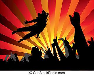 saut, flamme, concert