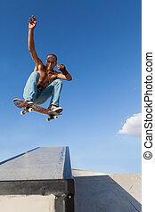 saut, garçon, skateboard