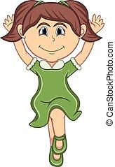 saut, girl, dessin animé