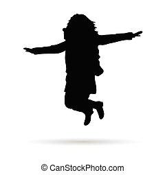 saut, girl, vecteur, silhouette, peu