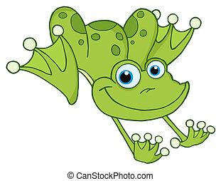 saut, grenouille, vert