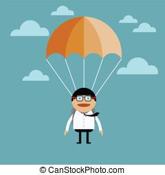 saut, homme affaires, parachute