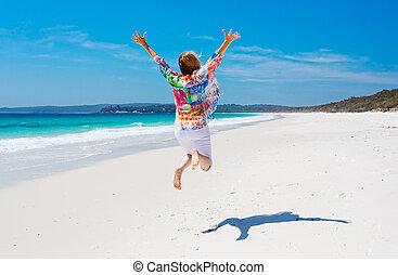 saut, joie, femme, plage, été