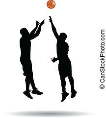 saut, joueur, basket-ball, coup