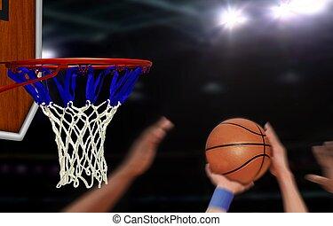 saut, joueur, cerceau, basket-ball, coup