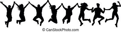 saut, mains, silhouette, tenue, gens