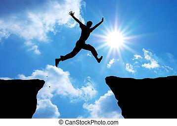 saut, par, gap., homme