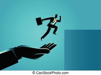 saut, portion, homme affaires, plus haut, main
