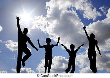 saut, quatre, ciel, famille