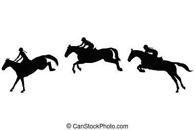 saut, show., équestre, qualité, trois, élevé, silhouettes, sauter, étapes, cheval, sport., cavalier