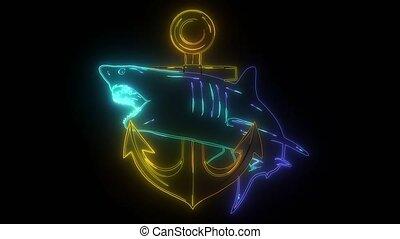 saut, video., requin, agressif, attaque, art