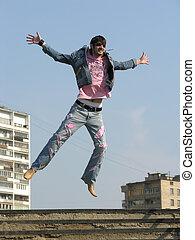 saut, ville, homme