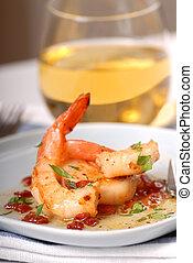 Delicious sauted shrimp with scallops and a bacon vinaigraitte