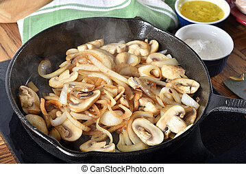 Sautee Onions and Mushrooms - Sauteing onions and mushrooms...