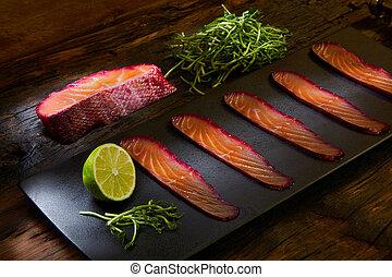 sauteed, barbabietola rossa, ardesia, sopra, salmone, ...