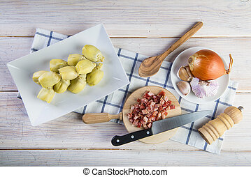 sauteed, carciofi, cottura, prosciutto, ingredienti