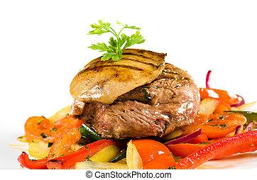 sauteed, carne di maiale, verdura, carne, fegato