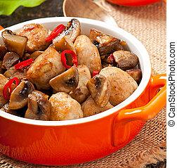 Sauteed chicken with mushrooms