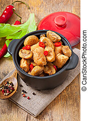 sauteed, galinha, com, cogumelos