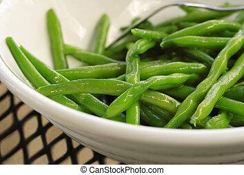 Sauteed Green Beans - Closeup of a bowl of sauteed Green...