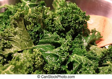Sauteed Kale - Panful of Sauteed Curly Kale (Greens), with...