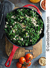 Sauteed kale with ground turkey - Quickly sauteed kale with...