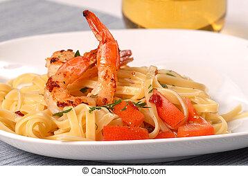 sauteed, pettine, vinaigrette, pancetta affumicata, ...