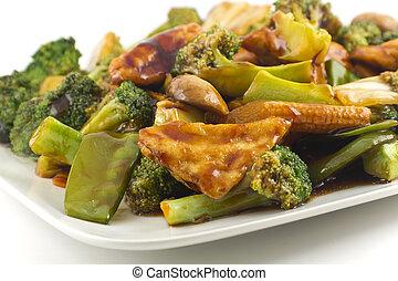 sauteed, vegetali mescolati, tofu, cinese